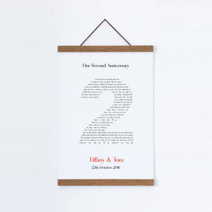 Personalized Second Anniversary Song Lyrics Cotton Canvas Print - Blim & Blum