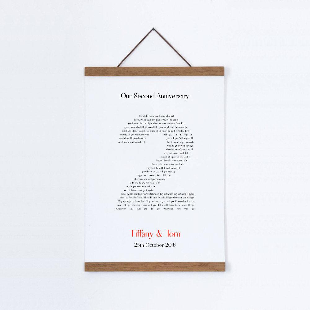 Personalised Second Anniversary Song Lyrics Cotton Canvas Print - Blim & Blum