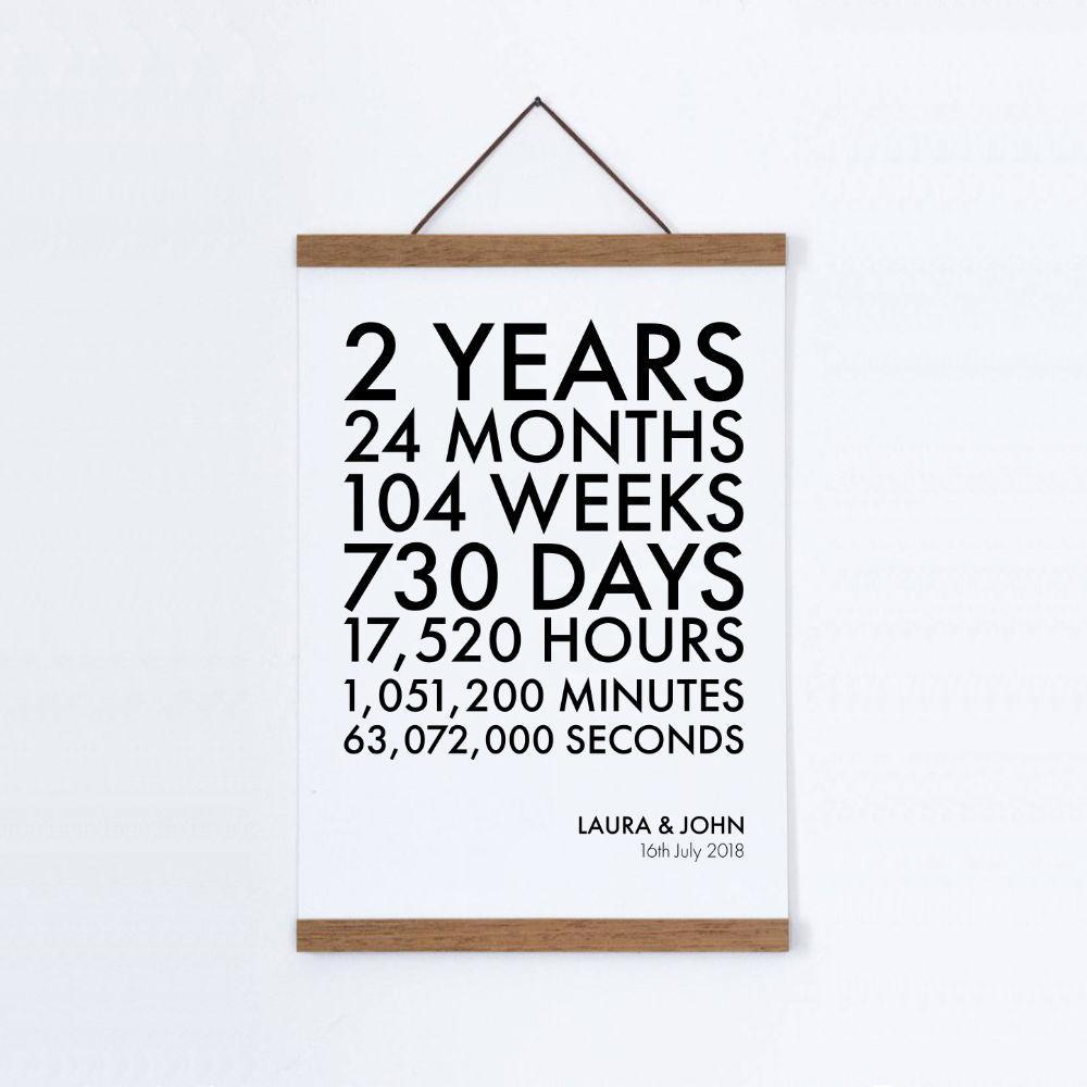 Personalised Time Canvas Print - Cotton 2nd Anniversary