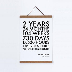 Personalized Time Canvas Print - Cotton 2nd Anniversary - Blim & Blum