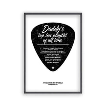 Personalised Top Songs Playlist Guitar Plectrum Print - Blim & Blum