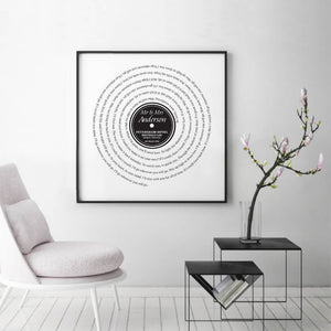 Personalized Vinyl First Dance Song Record Lyrics Print - Blim & Blum