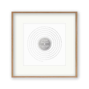 Personalised Vinyl Metallic Foil First Dance Song Record Lyrics Print - Blim & Blum