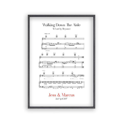 Personalized Walking Down The Aisle Music Sheet Notes Print - Blim & Blum