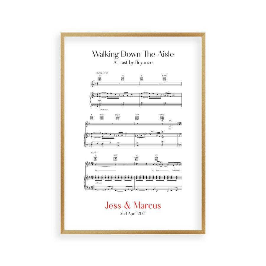 Personalized Walking Down The Aisle Music Sheet Notes