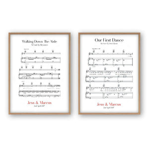 Personalized Wedding Day Sheet Music - Set Of 2 Prints - Blim & Blum
