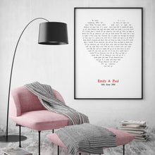 Load image into Gallery viewer, Personalized Wedding First Dance Song Lyrics Heart Print - Blim & Blum