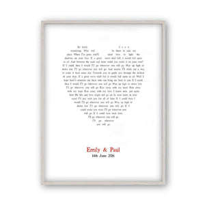Personalized Wedding First Dance Song Lyrics Heart Print - Blim & Blum