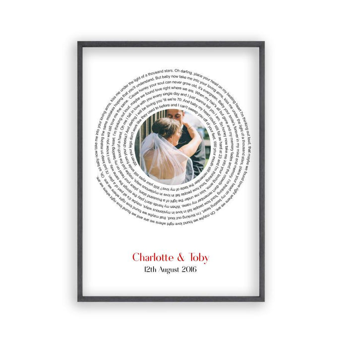 Personalised Wedding Photo And Lyrics Print - Blim & Blum