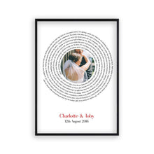 Personalised Wedding Or Couple Photo Song Lyrics First Dance Print - Blim & Blum