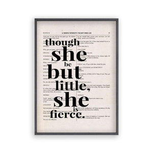 Shakespeare Though She Be But Little She Is Fierce Quote Book Print - Blim & Blum