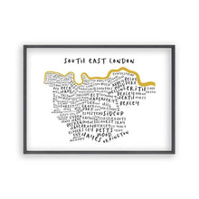Load image into Gallery viewer, South East London Typography Map Print - Blim & Blum