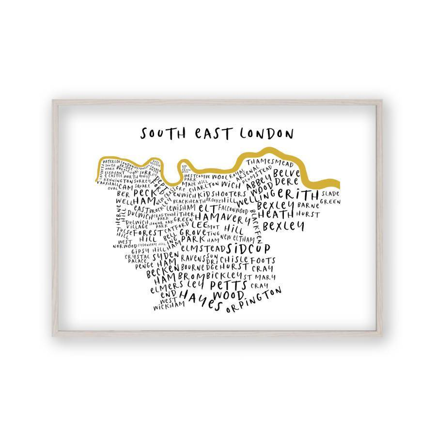 South London Map.South East London Typography Map Print
