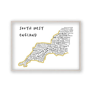 South West England Typography Map Print - Blim & Blum
