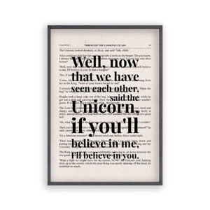Alice In Wonderland Unicorn Quote Book Print - Blim & Blum