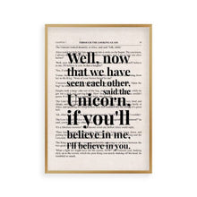 Load image into Gallery viewer, Alice In Wonderland Unicorn Quote Book Print - Blim & Blum