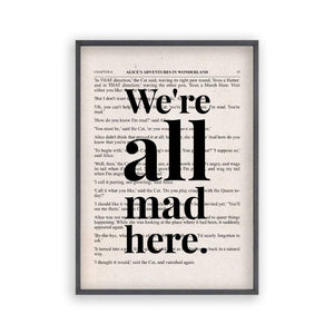 Alice In Wonderland We're All Mad Here Quote Book Print - Blim & Blum