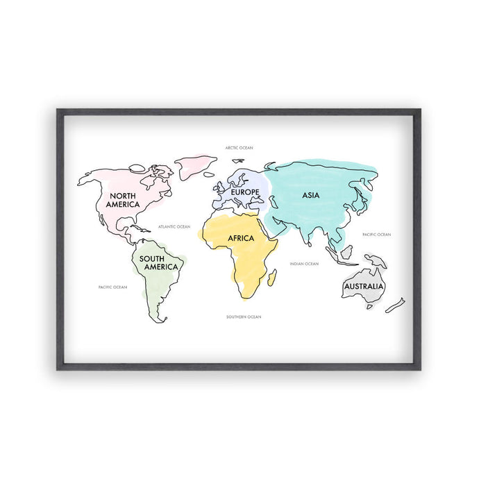 World Map Watercolour Print - Blim & Blum