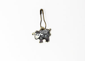 Baah Sheep Stitch Marker Black and White