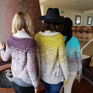 comfort fade cardigan knitting kit baah yarn