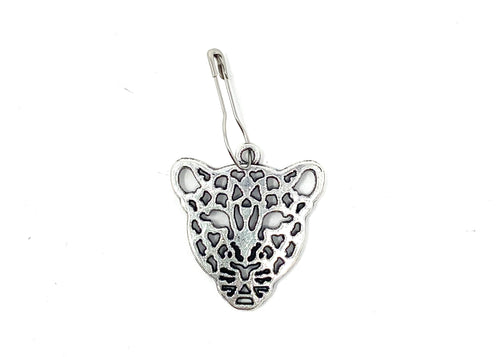 Silver Cheetah Leopard Knitting Stitch Marker