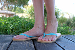 Women Leather Flip Flops - Turquoise