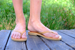 Women Leather Flip Flops - Camel
