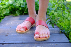 Marina Women Leather Flip Flops - Red