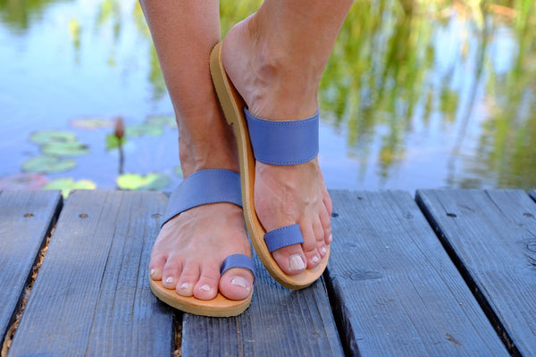 Marina Women Leather Flip Flops - Blue