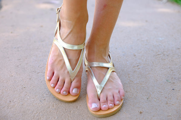 Gold Leather Sandals For Women