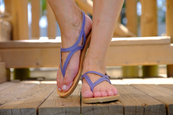 Blue Leather Sandals For Women