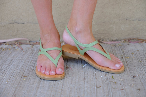 Green Leather Sandals For Women