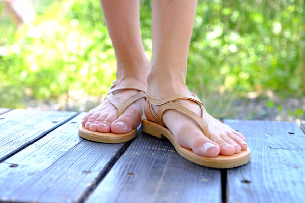 Camel Leather Sandals For Women