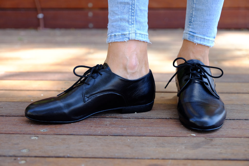 Shanti's Black Oxford , Women Shoes, Leather Shoes, Also Large Size, HandMade