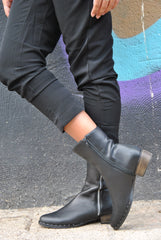Handmade Black Leather Zippered Boots