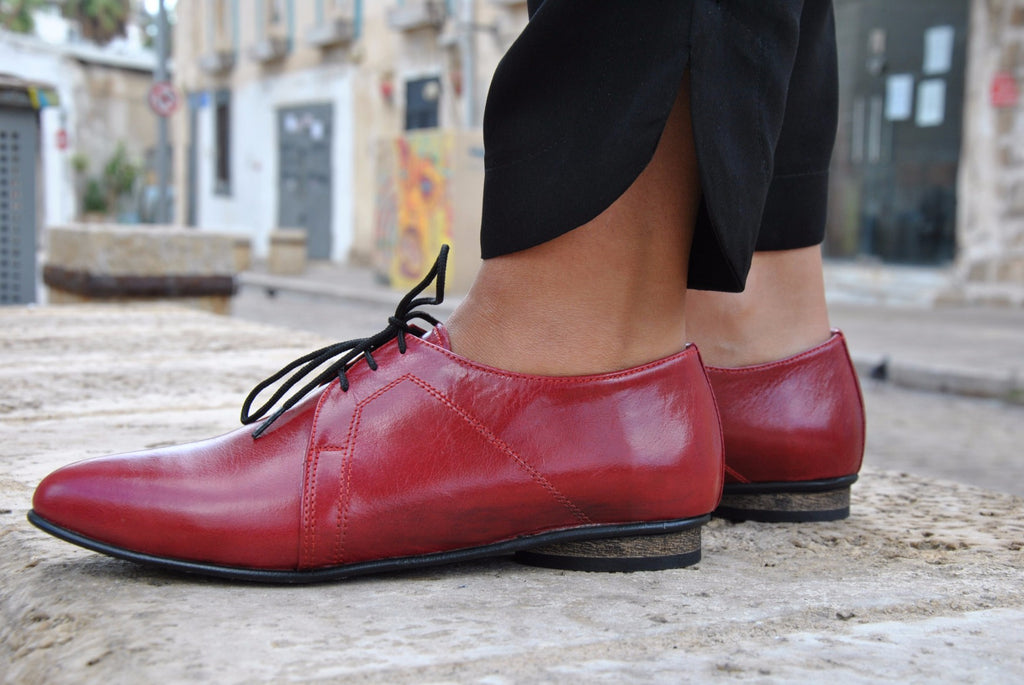 Red Women Oxford Shoes, Leather Dress Shoes, HandMade
