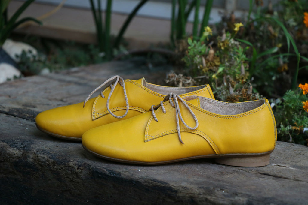Shanti's Yellow Oxford , Women Shoes, Leather Shoes, Also Large Size, HandMade