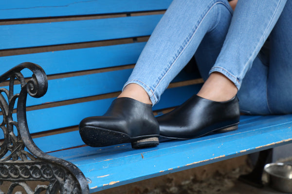 Black Shanti's Leather Zip Shoes, Women Shoes