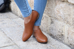 Camel Shanti's Leather Zip Shoes, Women Shoes, Handmade