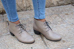 Gray Leather Ankle Boots With Heel