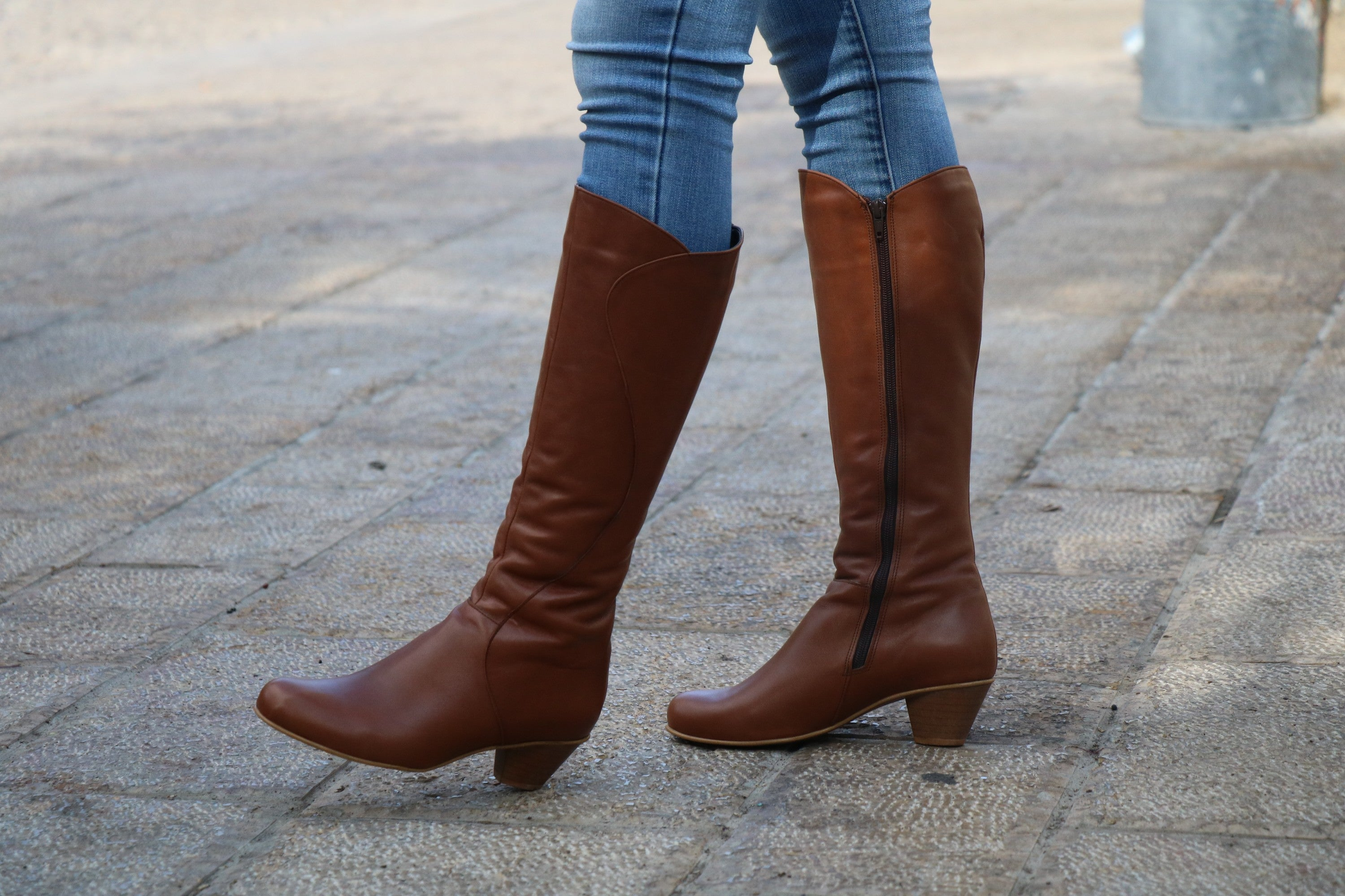Handmade Brown Leather Tall Boots With Heel Women Boots Women