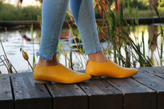 Yellow Shanti's Leather Zip Shoes, Women Shoes