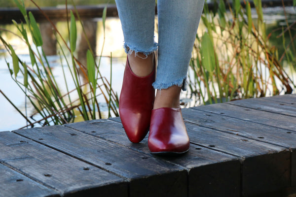 Red Shanti's Leather Zip Shoes, Women Shoes