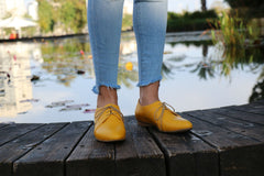 Yellow Women Shoes Oxford, Flat Shoes, HandMade