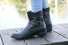 Handmade Leather Ankle Booties with Buckle