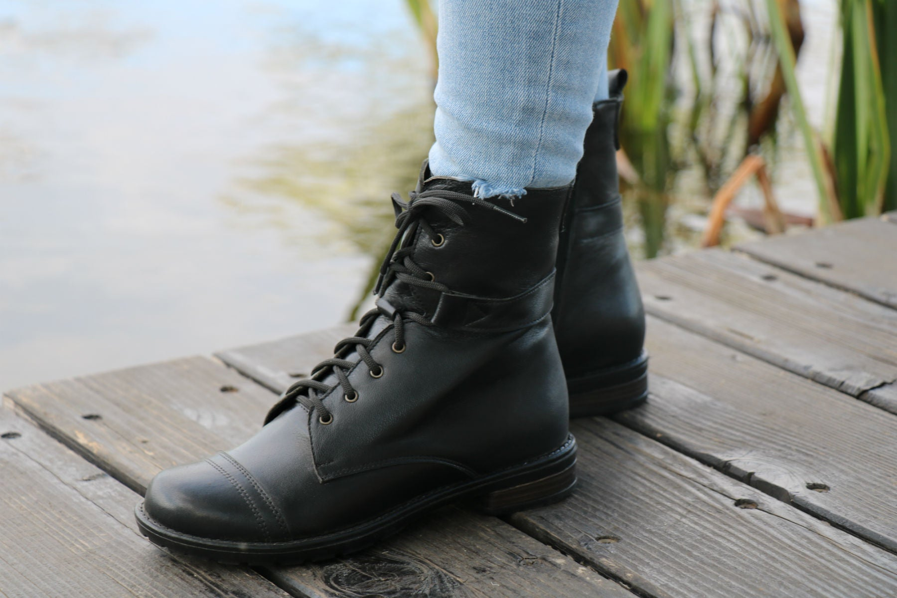 f2ba9a47d83ca Handmade Lace Up Leather Boots