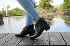 Black Leather Ankle Boots With Heel