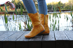 Brash Yellow Leather, Handmade Boots, Leather Boots,  Zippered Boots, Women Boots, Ankle Boots, Winter Boots, Handmade Shoes, Wide Fit