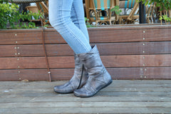 Brash Gray Leather, Handmade Boots, Leather Boots,  Zippered Boots, Women Boots, Ankle Boots, Winter Boots, Handmade Shoes, Wide Fit