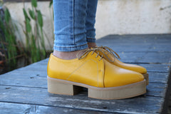 Platform Oxford, Yellow Women Shoes, Oxford Shoes Women, Flat Shoes, HandMade